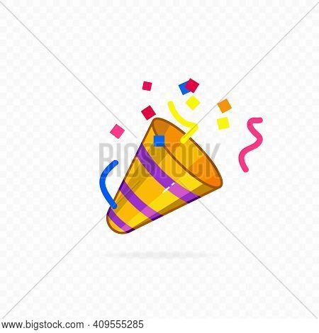 Party Popper Icon. Confetti Icon. Vector. Exploding Party Popper With Confetti, Bright Cartoon Birth