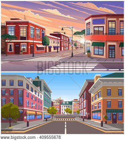 Street Of Town Day And Evening Time Lighting, Historic Urban Area With Trees And Streetlights. Citys