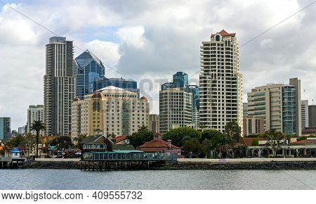 San Diego,ca - May 20,2014:san Diego Closeup View Of From Bay,state California,united States Of Amer