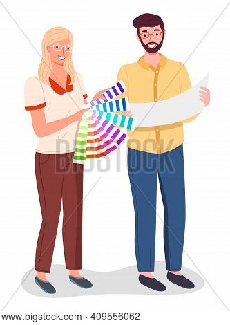 Professional Man And Woman Designers Holding And Selecting Palette Samples. Color Selection, Color G