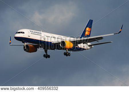 Frankfurt, Germany - December 6, 2012: Icelandair Boeing 757-200 Tf-fir Passenger Plane Landing At F