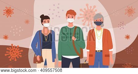 Group Of People Is Wearing Medical Masks. Students Adhere To Quarantine Regulations. Cartoon Charact