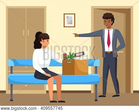 Layoff Concept. Strict Man Boss Dismissed Employee. Unhappy Girl Leave The Office With Things In Box
