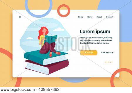 Woman Reading On Stack Of Books. Student Girl Doing Homework Flat Vector Illustration. Education, Li