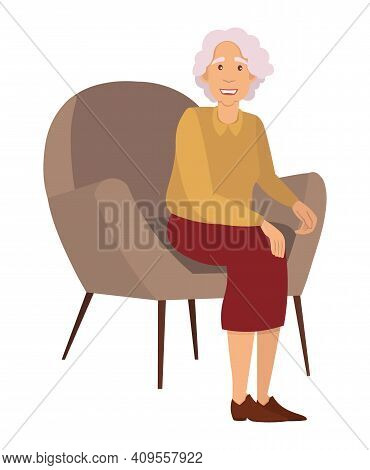 Elderly Woman Isolated On White Background. Sitting Female Person With Gray Hair Flat Vector Illustr