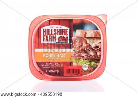 IRVINE, CALIFORNIA - AUGUST 21, 2017:  Hillshire Farms Honey Ham. Founded in 1934 by Frits Berneger, the company produces lunch meats, sausages and ham products.