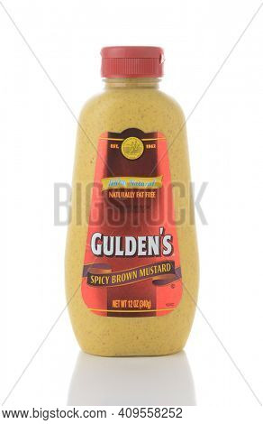 IRVINE, CA - JUNE 2, 2015: A bottle of Gulden's Spicy Brown Mustard. Guldens' is the oldest continuously operating mustard brand in the United States.