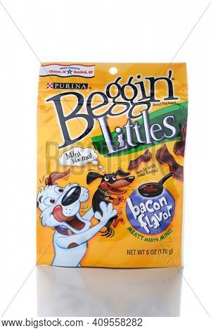IRVINE, CA - JUNE 14, 2015: A package of Beggin Littles. The bacon flavored snacks are amde for small breed dogs by the Nestle Purina PetCare Company.