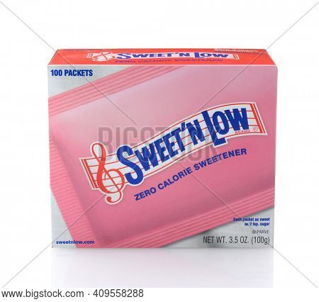 IRVINE, CA - DECEMBER 29, 2014: A box of Sweet N Low. The popular artificial sweetener is made from granulated saccharin with dextrose and crem of tartar.