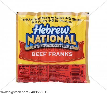 IRVINE, CA - May 19, 2014: A 12 ounce package of Hebrew National Beef Franks. The company founded on the Lower East Side of Manhattan in 1905, is now owned by ConAgra Foods.