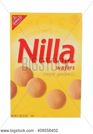 IRVINE, CA - February 06, 2014: A 11 ounce box of Nabisco Nilla Wafers. Nilla is a brand name owned by Nabisco, they are a vanilla flavored wafer style cookie.