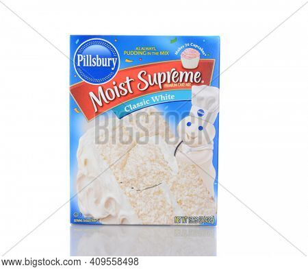 IRVINE, CA - January 05, 2014: Pillsbury Moist Supreme Classic White Cake Mix. Pillsbury founded in 1872 by Charles Alfred Pillsbury, is now owned by the J.M. Smucker Company.