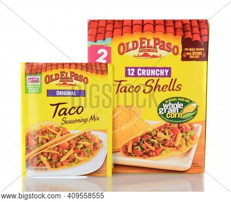 IRVINE, CA - January 05, 2014: Old El Paso Taco Shells and Taco Seasoning. Old El Paso has be making popular Mexican cuisine products since 1938.