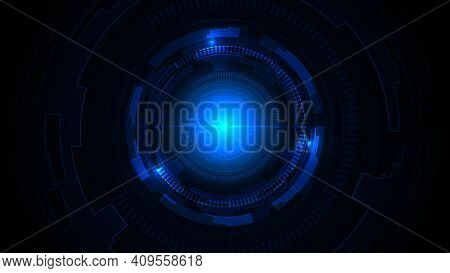 Technology Dark Blue Background With Hi-tech Digital Data Connection. Abstract, Futuristic, Modern,