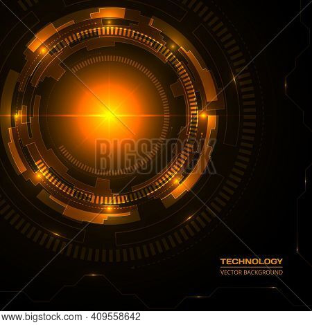 Technology dark orange background with hi-tech digital data connection. Futuristic, high technology, science, engineering, concept, modern, abstract vector background template.