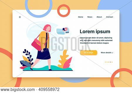 Young Sleepy Woman Going To Work Or Study. Job, Dream, Breakdown Flat Vector Illustration. Lifestyle