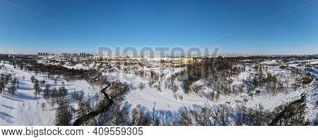 Winter Urban Landscape. Aerial Photography Of The Winter Landscape. Panoramic Photography.
