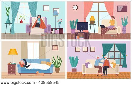 Set Of Illustrations On The Theme Of People Feel Bad At Home. Characters Sick With Flu Sit In The Ap
