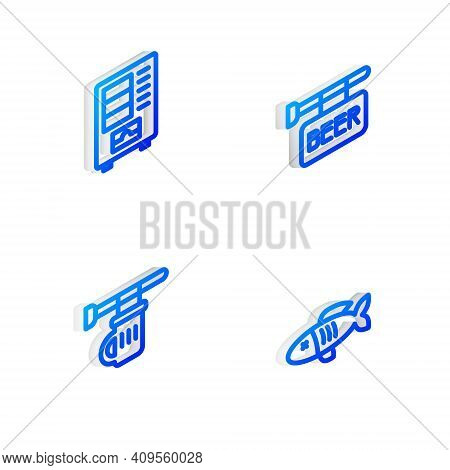 Set Isometric Line Street Signboard With Beer, Vending Machine, Signboard Glass Of Beer And Dried Fi