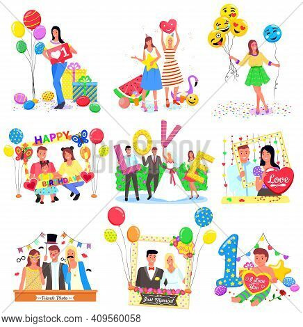 Set Of Photozones, Accessorize, Frames And Decorations For Different Events Like Wedding Or Birthday