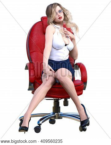 Long-haired Sexy Blonde Secretary In Mini Skirt.beautiful Girl Sitting Office Leather Chair Sexually