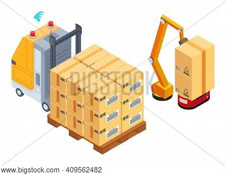Industrial Forklift With Wooden Pallet With Card Boxes, Postal Transportation. Gps Signal. Robot Pac