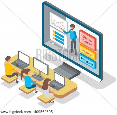 University Lecture With Instructor And Students. Man Teacher Conducts A Lecture Remotely Online Use