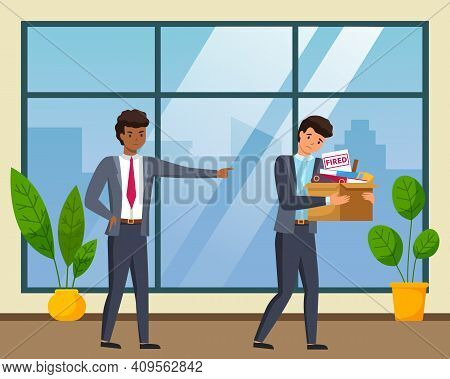 Layoff Concept. Angry Boss Dismissed Employee. Unhappy Fired Man Leaves The Office With Things In A