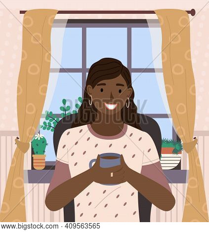 Nice Happy Dark Skinned Woman Sitting Near The Window Vector Illustration. Smiling Girl Drinks Tea .