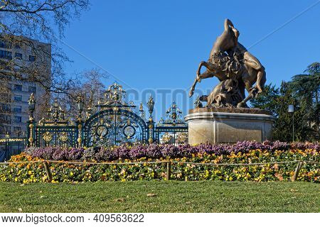 Lyon, France, February 20, 2021 : Centaur And Wildlife (1849) By Augustin Courtet Is A Bronze Statue