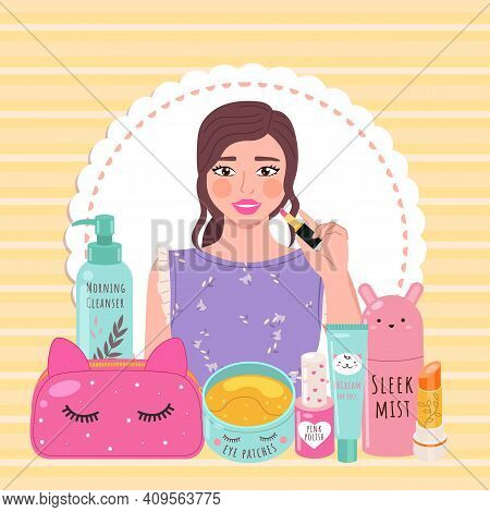 Beautiful Girl Makes Look And Does Makeup, Looks After Beauty And Paints Lips On Yellow Background.