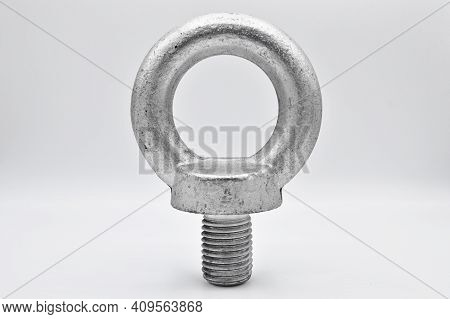 Galvanized Steel Metal With Metric Eye Bolt, Isolated On White Background