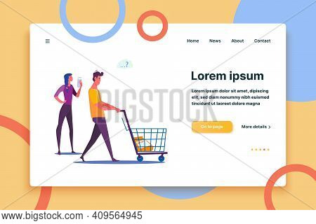 Young Couple Shopping Together. Woman And Puzzled Man Choosing Food At Supermarket Flat Vector Illus