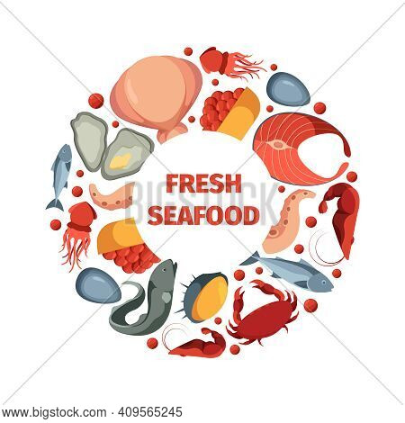 Circle Shape From Seafoods. Round Design Form Template For Restaurant Menu With Pictures Of Fresh Oc