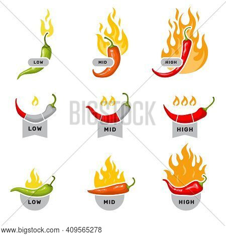 Red Peppers. Labels For Kitchen Mid Low And High Level Visualization Stickers With Hot Red Pepper Fo