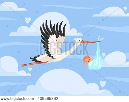 Stork With Baby In Clouds. New Born Little Kids Toddler Birth Stork Delivery Nowaday Vector Backgrou
