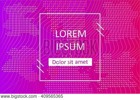 Pattern With Dots. Vector Background With Tots, Waves And Shapes In Pink, Purple And Orange Colors.