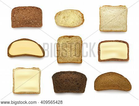 Bread Sliced. Healthy Natural Baking Food Top View Of Bread Pieces Decent Vector Breakfast Products