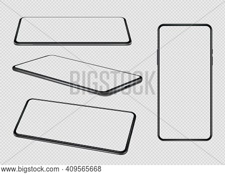 Smartphones Mockup. Mobile Phones Empty Screens With Place For Personal Info Blank Design Present Va