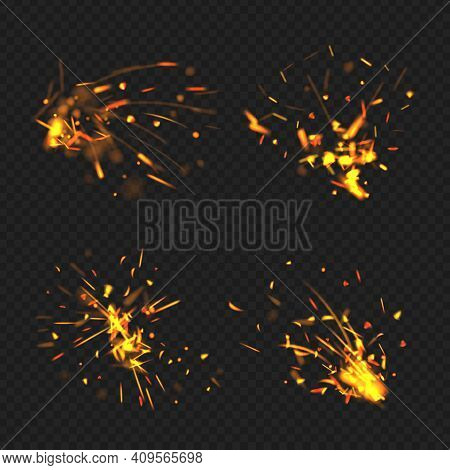 Realistic Sparks. Fire Effects Flame Little Parts Glowing Particles Decent Vector Bengal Burning Spa