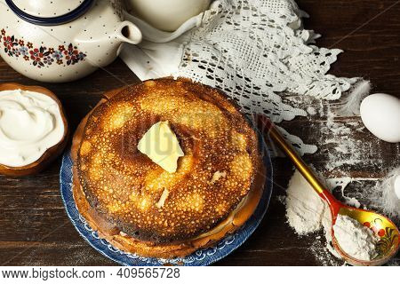 Maslenitsa, A Traditional Russian Orthodox Holiday In Which People Are Treated To Pancakes. A Stack