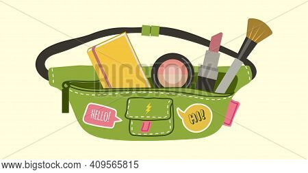 Girly Accessories. Waist Bag, Teenagers Cosmetic Holder With Cute Stickers. Cartoon Lipstick, Brush