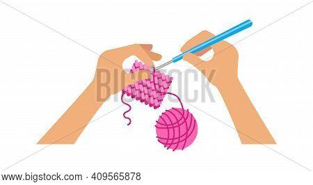 People Crochet. Hands Holding Hook, Hand Made Workshop Or Online Tutorial. Needlework, Cozy Hobby Ve