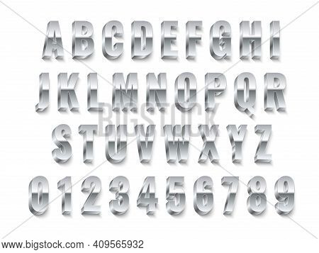 Metal 3d Font. Realistic Silver Capital English Letters And Numbers, Modern White Steel Alphabet Col