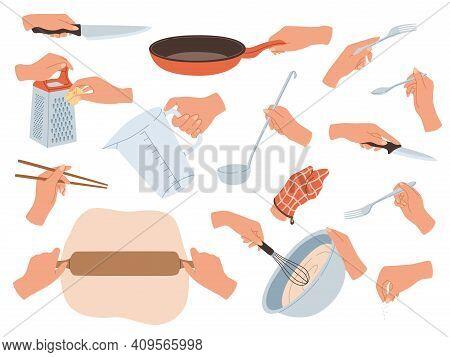 Hands Preparing Food. Cooking Utensils In Female Hands, Restaurant Kitchen Objects. Cutlery, Culinar