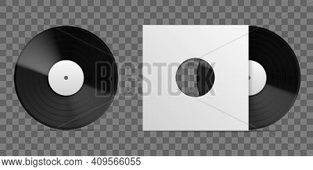 Realistic Vinyl Record. 3d Long Playing Album Blank Paper Cover Template, Vintage Musical Disc Black