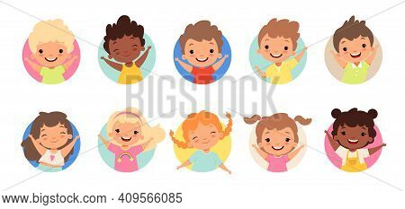 Happy Kids Avatars. Cute Children Smiling, Boy Girl In Rounds Vector Set. Illustration Girl And Boy