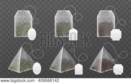 Tea Bags Mockup. Realistic Disposable Beverage Infuser Bags And Pyramids Sachet With Blank Paper Lab