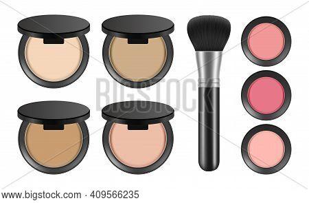 Makeup Powder. Realistic Blush And Brush. Isolated Decorative Cosmetics Vector Set. Illustration Mak