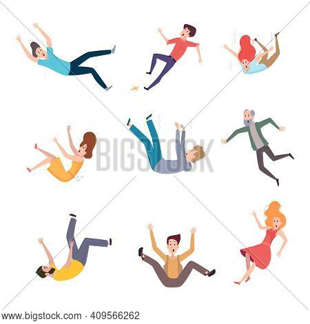 Falling Persons. Old People Fall On Wet Floor Danger Situations Crash Characters Pain Legs Exact Vec
